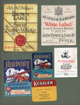 6 old whisky bottle labels whiskey labels.   #011